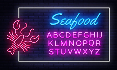 Seafood neon sign vector. Neon Frame Seafood Design template, light banner, night signboard, nightly bright advertising, light inscription. Vector illustration. Editing text neon sign