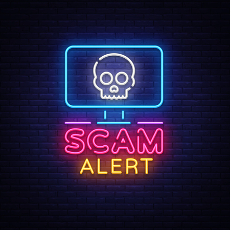 Scam Alert neon sign vector. Scam Alert Design template neon signboard, light banner, neon signboard, nightly bright advertising, light inscription. Vector illustration