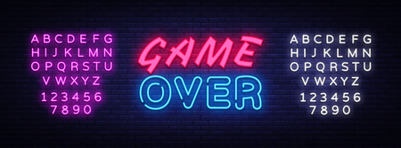 Game Over neon text vector design template. Game Over neon logo, light banner design element colorful modern design trend, night bright advertising, bright sign. Vector. Editing text neon sign.