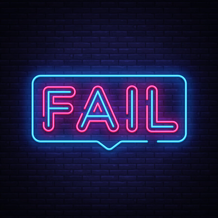 Fail Neon Text Vector. Fail neon sign, design template, modern trend design, night neon signboard, night bright advertising, light banner, light art. Vector illustration.