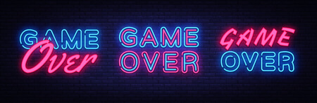Game Over neon signs set design template. Big Collection Game Over neon text, light banner design element colorful modern design trend, night bright advertising, bright sign. Vector illustration.