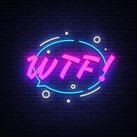 WTF neon text vector design template. Comic speech bubble WTF in neon style, light banner design element colorful modern design trend, night bright advertising, bright sign. Vector illustration