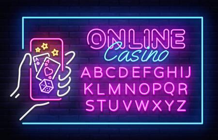 Casino neon sign vector design template. Casino Online neon frame, light banner design element colorful modern design trend, night bright advertising. Vector illustration. Editing text neon sign.