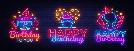 Feliz cumpleaños letreros de neón establece la plantilla de diseño. Gran colección de tarjetas de felicitación de feliz cumpleaños, elemento de diseño de banner de luz colorida tendencia de diseño moderno, publicidad luminosa de noche. Ilustración de vector.