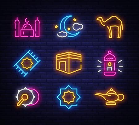 Ramadan Kareem icon set neon. Design template, design elements. Ramadan Kareem - Glorious month of Muslim year. Light banner, collection neon signs for Muslim holiday. Vector illustration Stock Vector - 119782769