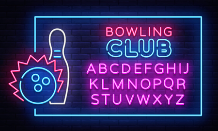 Bowling neon sign vector. Neon Frame Bowling Club Design template, light banner, night signboard, nightly bright advertising, light inscription. Vector illustration. Editing text neon sign.