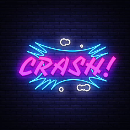CRASH neon text vector design template. Comic speech bubble Crash in neon style, light banner design element colorful modern design trend, night bright advertising, bright sign. Vector illustration.
