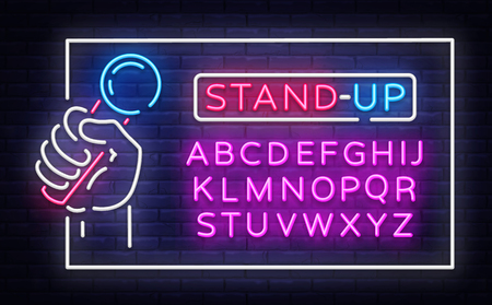 Stand Up Neon Signboard in Frame Vector. Microphone in Hand neon sign, stand up design template, modern trend design, night neon signboard, night advertising. Vector. Editing text neon sign