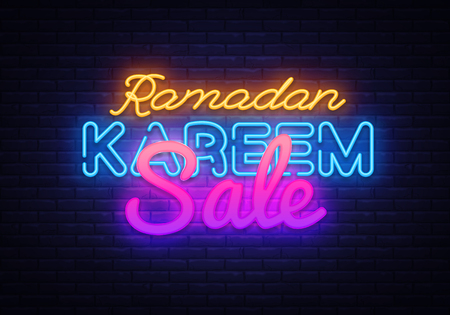 Ramadan Kareem sale neon design. Ramadan Holiday discounts vector illustration design template in modern trend style, neon style, light banner for shop, nightly bright advertising discounts 스톡 콘텐츠 - 119782772