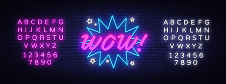 WOW neon sign vector. Comic speech bubble with expression text Wow, Design template neon sign, light banner, neon signboard, light inscription. Vector illustration. Editing text neon sign