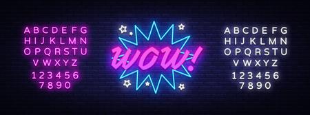 Vector de letrero de neón WOW. Bocadillo de diálogo cómico con texto de expresión Wow, letrero de neón de plantilla de diseño, banner de luz, letrero de neón, inscripción de luz. Ilustración de vector. Edición de letrero de neón de texto Logos