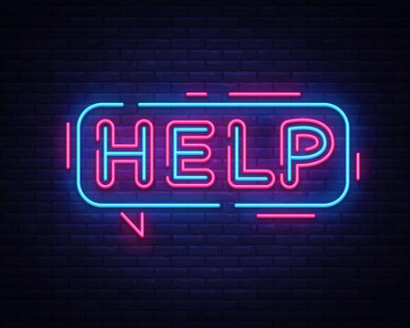 Help neon sign vector. Help Design template neon signboard, light banner, neon signboard, nightly bright advertising, light inscription. Vector illustration