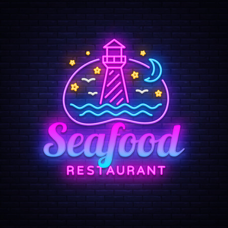 Seafood Restaurant neon sign vector. Seafood Design template, Lighthouse concept light banner, neon signboard, nightly bright advertising, light inscription. Vector illustration
