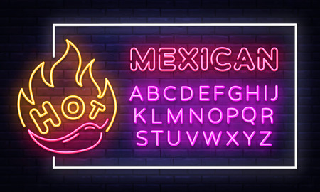 Mexican Food neon sign vector design template. Mexican Food neon frame, light banner design element colorful modern design trend, night bright advertising, bright sign. Vector. Editing text neon sign