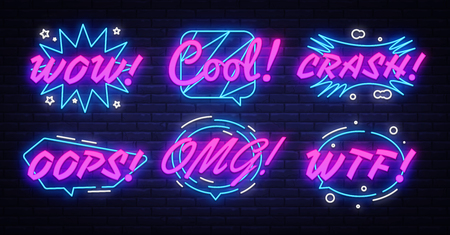 Neon comic speech bubbles set with different emotions and text Wow, Cool, Crash, Oops, Omg, Wtf. Pop Art - Neon Signs, design element colorful modern design trend. Vector illustration