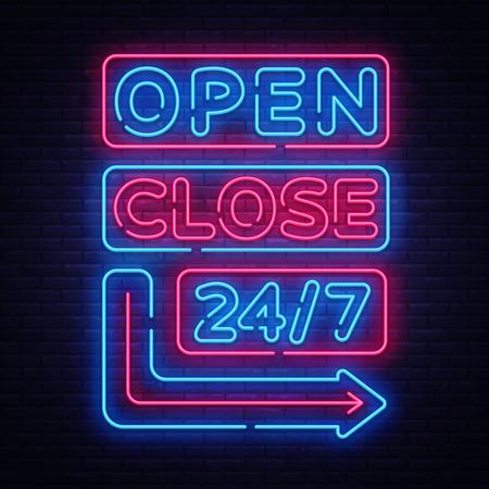 Ouvrir Fermer le vecteur d'enseignes au néon. Modèle de conception d'enseignes au néon, bannière lumineuse, enseigne de nuit, publicité lumineuse nocturne, inscription lumineuse. Illustration vectorielle