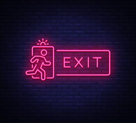 Exit Neon Signboard Vector. Exit neon sign, design template, modern trend design, night neon signboard, night bright advertising, light banner, light art. Vector illustration