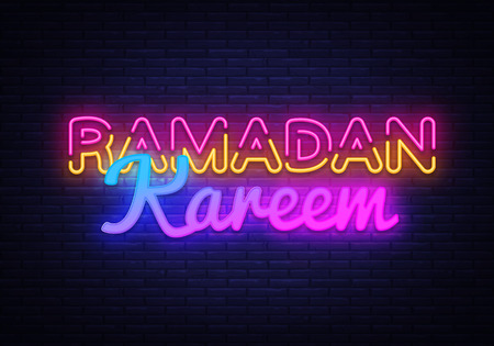 Ramadan Kareem festive card design template in modern trend style. Neon style, Islamic and Arabic background for the holiday of the Muslim community. Vector illustration