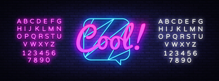 Cool Neon Text Vector. Comic lettering Cool neon sign, design template, modern trend design, night neon signboard, speech bubble, poster and sticker concept. Vector. Editing text neon sign Ilustrace