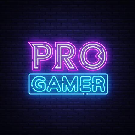 Vecteur d'enseigne au néon Pro Gamer. Modèle Neon Gaming Design, bannière lumineuse, enseigne de nuit, publicité lumineuse nocturne, inscription lumineuse. Illustration vectorielle