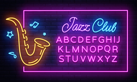 Jazz Music Neon Signboard in Frame Vector. Live music neon sign, design template, modern trend design, night neon signboard, night bright advertising, light banner. Vector. Editing text neon sign.