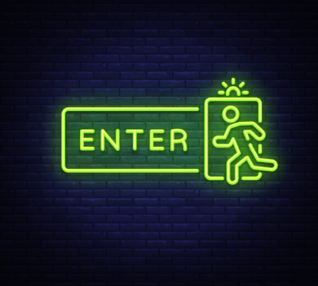 Enter neon sign vector design template. Exit Enter neon signboard, light banner design element colorful modern design trend, night bright advertising, bright sign. Vector illustration Standard-Bild - 119782864