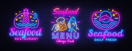 Seafood Neon signs set Vector. Seafood Menu neon sign, design template, modern trend design, night signboard, night bright advertising, light banner, light art. Vector illustration