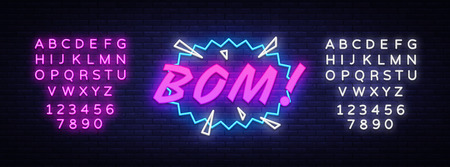 BOM neon text vector design template. Comic speech bubble BOM in neon style, light banner design element colorful modern design trend. Vector illustration. Editing text neon sign. Ilustração