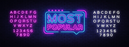 Most Popular neon sign vector. Most Popular Design template neon sign, light banner, neon signboard, nightly bright advertising, light inscription. Vector illustration. Editing text neon sign Фото со стока - 119782866
