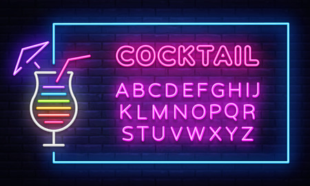 Cocktail neon sign vector design template. Night Club neon frame light banner design element, colorful modern design trend, night bright advertising, bright sign. Vector. Editing text neon sign. Ilustração