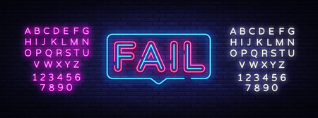 Fail Neon Text Vector. Fail neon sign, design template, modern trend design, night neon signboard, night bright advertising, light banner, light art. Vector illustration. Editing text neon sign. Çizim