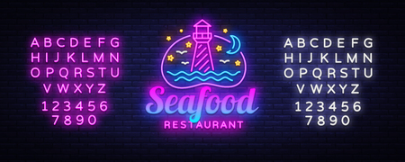 Seafood Restaurant neon sign vector. Seafood Design template, Lighthouse concept light banner, neon signboard, nightly bright advertising, light inscription. Vector. Editing text neon sign Illustration