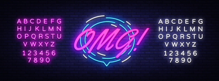 OMG Neon Text Vector. Comic lettering OMG neon sign, design template, modern trend design, night neon signboard, speech bubble, poster and sticker concept. Vector. Editing text neon sign.