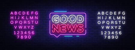Good News neon sign vector. Good News Design template neon signboard, light banner, neon signboard, nightly bright advertising, light inscription. Vector illustration. Editing text neon sign.