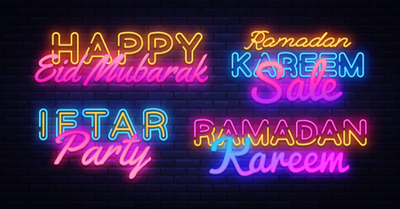Ramadan Kareem collection neon signs vector. Leaflet design template concept of lines with colored crescent and mosque, iftar party. Islamic banner background design, neon symbol, modern trend design Archivio Fotografico - 119782871