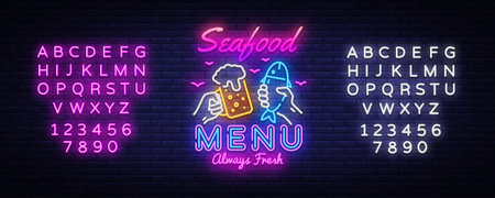 Seafood Menu Neon Design Vector. Seafood Menu neon sign, design template, modern trend design, night signboard, night bright advertising, light banner, light art. Vector. Editing text neon sign Illustration