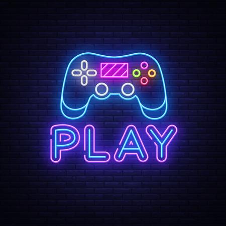 Gaming-Leuchtreklame-Vektor. Spielen Sie Designvorlage Neonschild, Lichtbanner, Neonschild, nächtliche helle Werbung, Lichtinschrift. Vektor-Illustration.