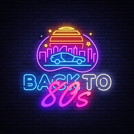 Back to the 80s neon sign vector. 80 s Retro style Design template neon sign, light banner, neon signboard, nightly bright advertising, light inscription. Vector illustration