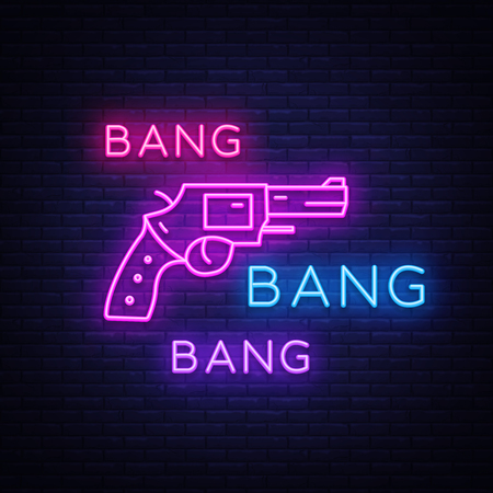 Bang Bang Gun neon sign vector. Pop Art Design template neon sign, light banner, neon signboard, nightly bright advertising, light inscription. Vector illustration.