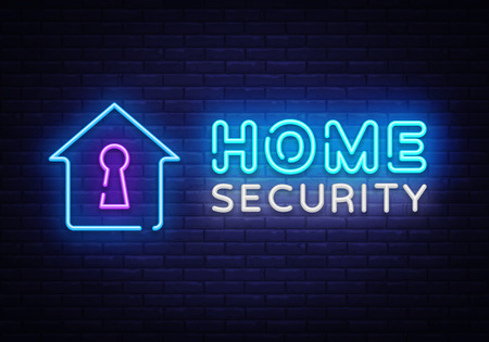 Home Security neon sign vector design template. Smart Home Security neon logo, light banner design element colorful modern design trend, night bright advertising, bright sign. Vector illustration.