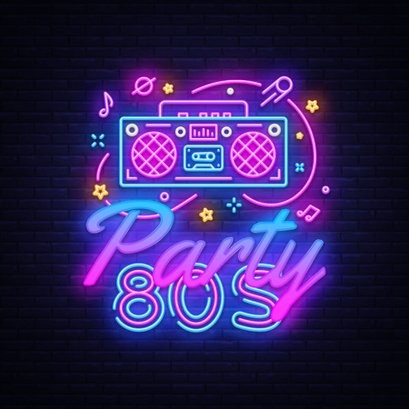 80s Party Neon Sign Vector. Back to the 80s neon design template, modern trend design, night signboard, night bright advertising, light banner, light art. Vector illustration