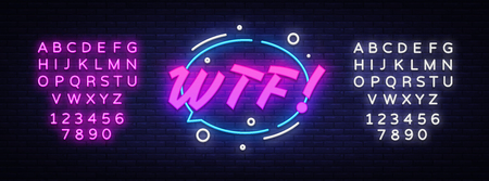 WTF neon text vector design template. Comic speech bubble WTF in neon style, light banner design element colorful modern design trend, night bright advertising. Vector. Editing text neon sign Reklamní fotografie - 120095377