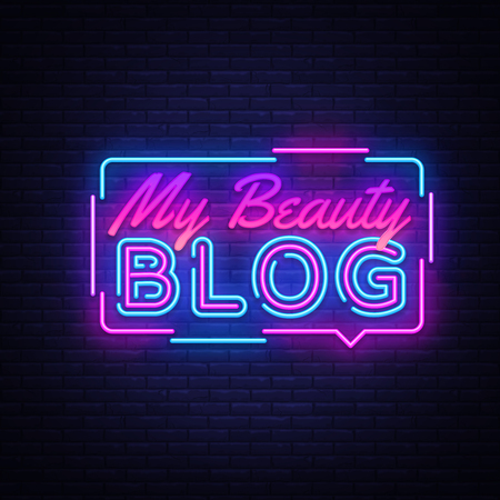 My Beauty Blog neon sign vector. Blogging Design template neon sign, light banner, neon signboard, nightly bright advertising, light inscription. Vector illustration. 스톡 콘텐츠 - 124142735
