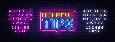 Helpful Tips Neon Text Vector. Helpful Tips neon sign, design template, modern trend design, night neon signboard, night bright advertising, light banner, light art. Vector. Editing text neon sign. Archivio Fotografico - 124142736