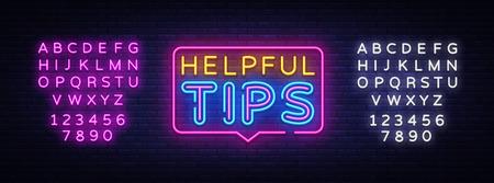 Helpful Tips Neon Text Vector. Helpful Tips neon sign, design template, modern trend design, night neon signboard, night bright advertising, light banner, light art. Vector. Editing text neon sign.