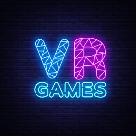 VR Gamer neon text vector design template. Gaming neon logo, light banner design element colorful modern design trend, night bright advertising, bright sign. Vector illustration. Illustration