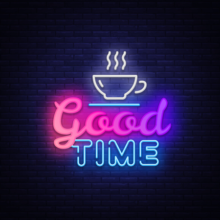 Good Time Neon Text Vector. Good Times neon sign, design template, modern trend design, night signboard, night bright advertising, light banner, light art. Vector illustration. 向量圖像