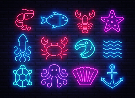 Seafood icons set. Seafood collection neon signs. Bright signboard, light banner. Neon isolated icon, emblem, design tremplate. Vector Illustration.