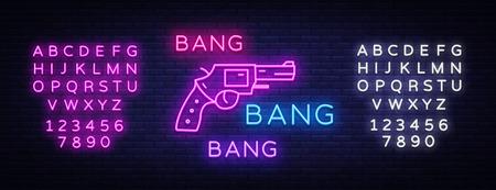 Bang Bang Gun neon sign vector. Pop Art Design template neon sign, light banner, neon signboard, nightly bright advertising, light inscription. Vector illustration. Editing text neon sign. Illustration