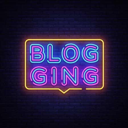 Blog Neon Text Vector. Blogging neon sign, design template, modern trend design, night signboard, night bright advertising, light banner, light art. Vector illustration. Illustration